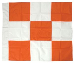 "Picture of 36""x36"" Orange and White Checkered Airport Vehicle Flag"