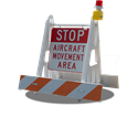 Picture of Airport Vehicle Access Sign & Barricade