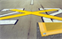 "Picture of 8ft x 60ft Temporary Runway ""X"" YELLOW Closure Marker w/ 6"" BLACK Border"
