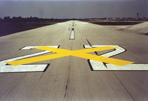 "Picture of 10ft x 60ft Temporary Runway ""X"" YELLOW Closure Marker"
