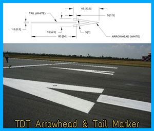 Picture of Displaced Threshold TOUCHDOWN ZONE Arrowhead  & Tail